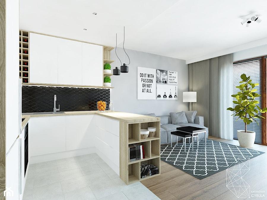 Mieszkanie 80m2 / Wiślane Tarasy, Kraków - Średnia otwarta szara kuchnia w kształcie litery u w aneksie z wyspą, styl nowoczesny - zdjęcie od INNers - architektura wnętrza