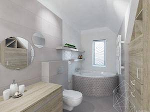 Łazienka / Modlnica k. Krakowa - Średnia beżowa szara łazienka na poddaszu w domu jednorodzinnym z oknem, styl nowoczesny - zdjęcie od INNers - architektura wnętrza