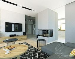 Dom 160 m2 w Krakowie - Mały biały brązowy salon, styl nowoczesny - zdjęcie od INNers - architektura wnętrza