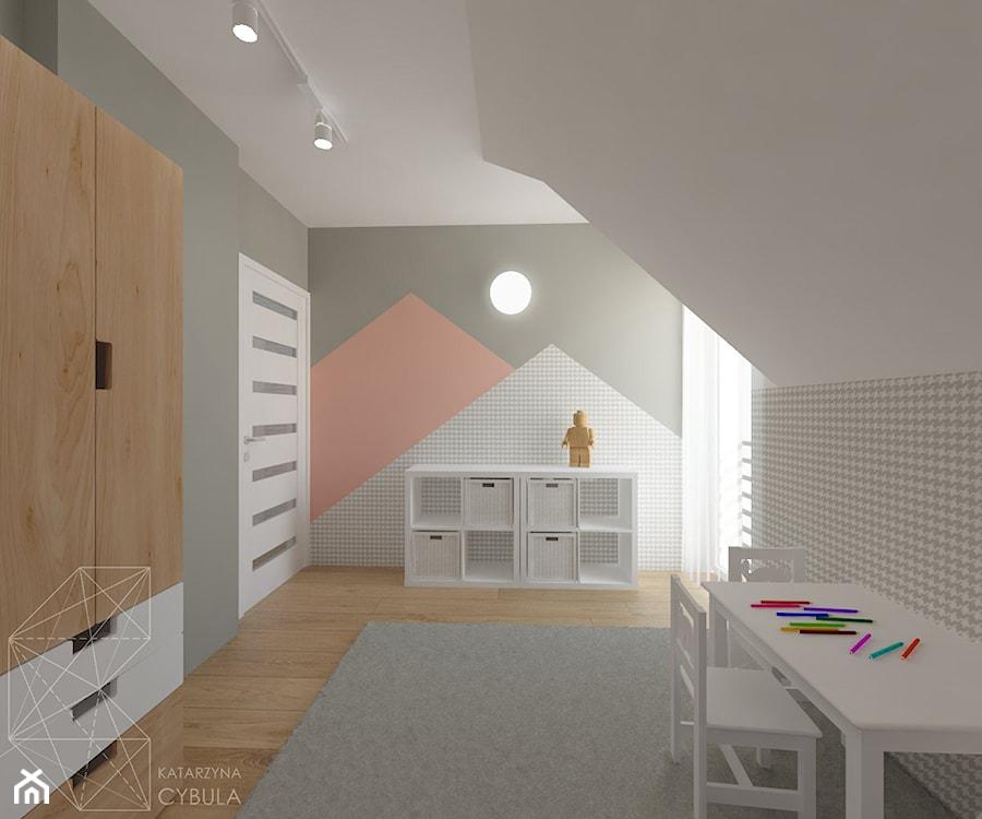 Dom 120 m2 pod Krakowem - Średni biały szary pastelowy pomarańczowy pokój dziecka dla dziewczynki dla malucha, styl skandynawski - zdjęcie od INNers - architektura wnętrza