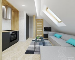 Mieszkanie 35m2 / Kraków - Średni szary czarny salon z kuchnią, styl skandynawski - zdjęcie od INNers - architektura wnętrza