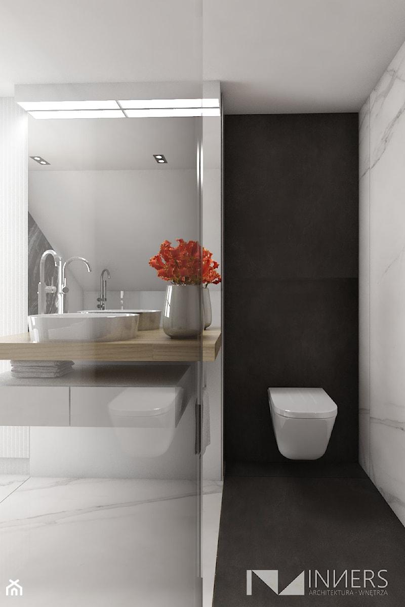 Dom 200m2 w Puławach - Mała biała łazienka, styl nowoczesny - zdjęcie od INNers - architektura wnętrza