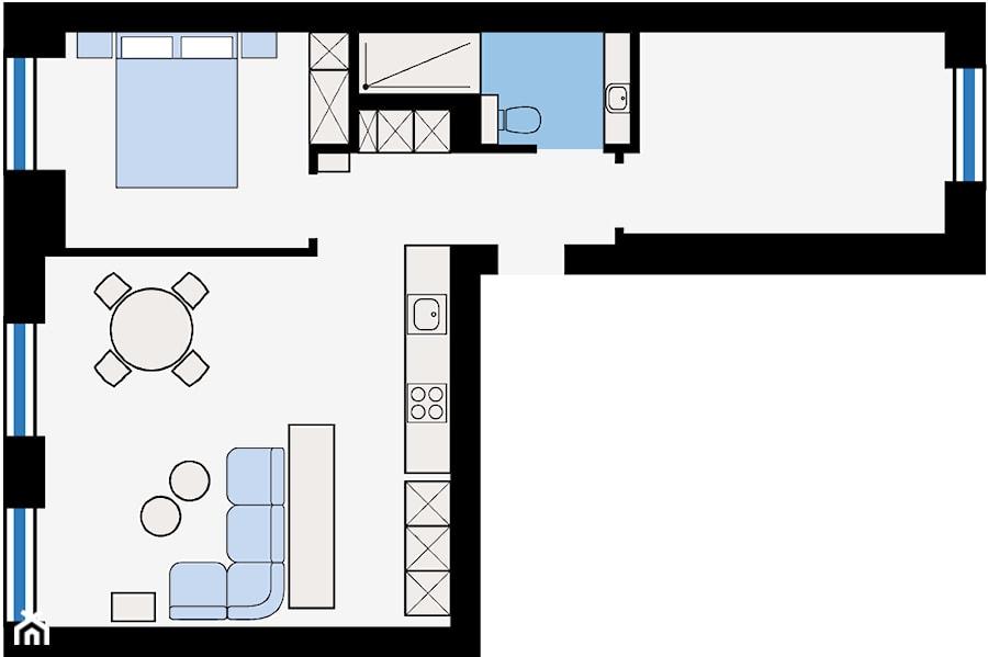 **RZUT MIESZKANIA** --- --- --- powierzchnia całkowita  – 59 m² --- --- --- salon + kuchnia – 27,2 m²  sypialn ...