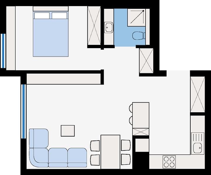 """<h2 id=""""rzut-mieszkania""""><strong>RZUT MIESZKANIA</strong></h2> <hr /> <hr /> <h2 id=""""powierzchnia-cakowita-472-m2"""">powierzchnia całkowita  – 47,2 m²</h2> <hr /> <hr /> <p>przestrzeń dzienna – 32,8 m²</p> <p>sypialnia – 11,2 m²</p> <p>łazienka – 3,2 m²</p>"""