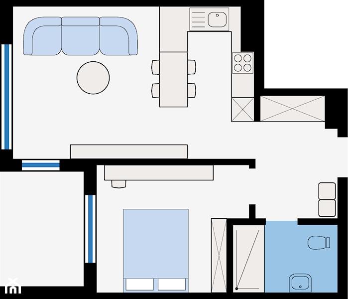 **RZUT MIESZKANIA** --- --- --- powierzchnia całkowita  – 44,1 m² --- --- --- aneks kuchenny + salon – 22,4 m²  ...