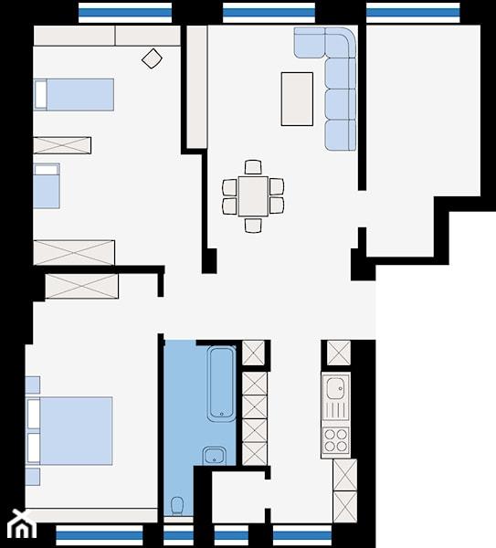 **RZUT MIESZKANIA** --- --- --- powierzchnia całkowita  – 104,7 m² --- --- --- salon + jadalnia – 23,4 m²  kuc ...