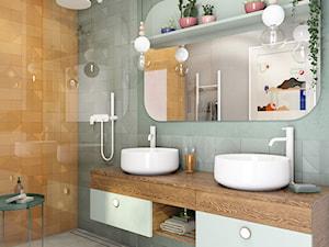 Oborniki Śląskie - Średnia zielona łazienka w bloku w domu jednorodzinnym bez okna, styl eklektyczny - zdjęcie od N'concept
