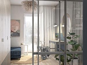 Olimpia Port - Średnie szare białe biuro kącik do pracy w pokoju, styl skandynawski - zdjęcie od N'concept