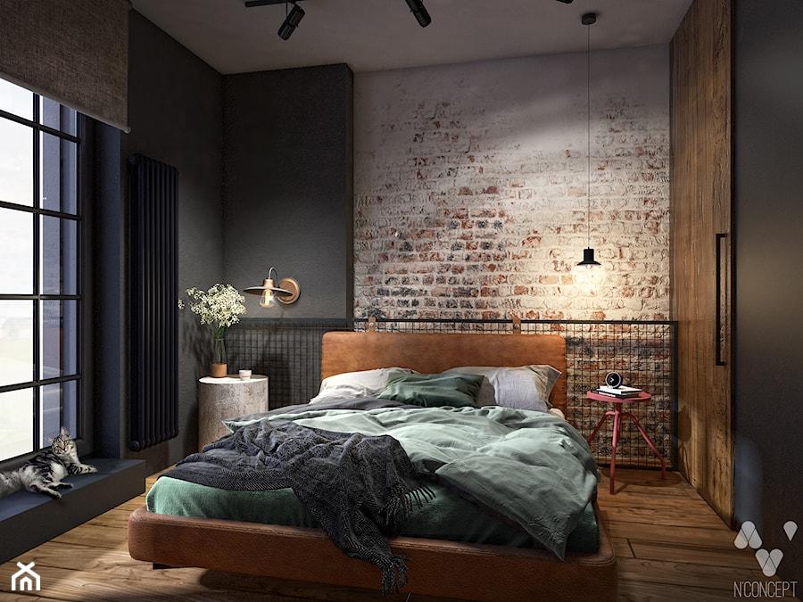 Stary Spichlerz - Średnia brązowa czarna sypialnia małżeńska, styl industrialny - zdjęcie od N'concept