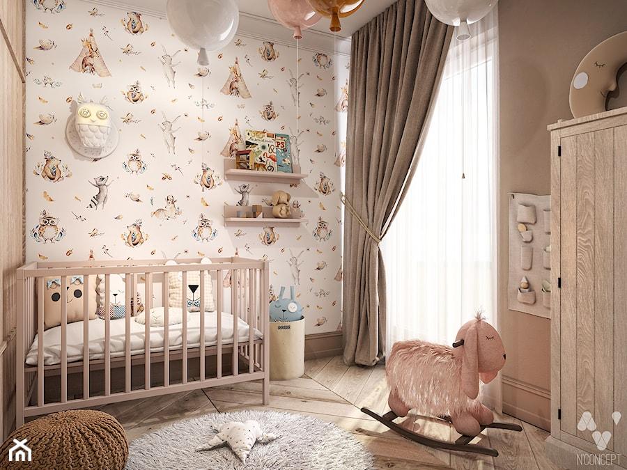 Gdańsk MM1 - Mały biały beżowy brązowy pokój dziecka dla dziewczynki dla niemowlaka - zdjęcie od N'concept