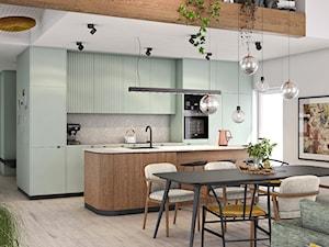 Oborniki Śląskie - Średnia otwarta szara kuchnia jednorzędowa z wyspą z oknem, styl eklektyczny - zdjęcie od N'concept