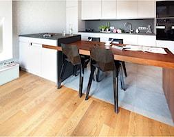 Nowoczesny apartament - Mała otwarta biała szara kuchnia jednorzędowa, styl nowoczesny - zdjęcie od Maria Jachalska - Homebook