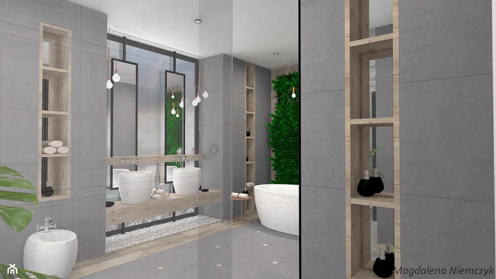 Łazienka w betonie i drewnie - Duża szara łazienka w domu jednorodzinnym jako salon kąpielowy bez okna - zdjęcie od MEGART Projekty Wnętrz - Homebook