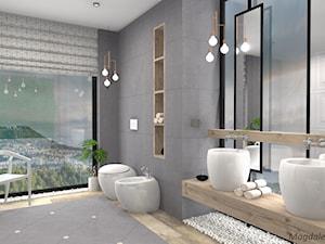 Łazienka w betonie i drewnie - Średnia łazienka w bloku w domu jednorodzinnym jako salon kąpielowy z oknem - zdjęcie od MEGART Projekty Wnętrz