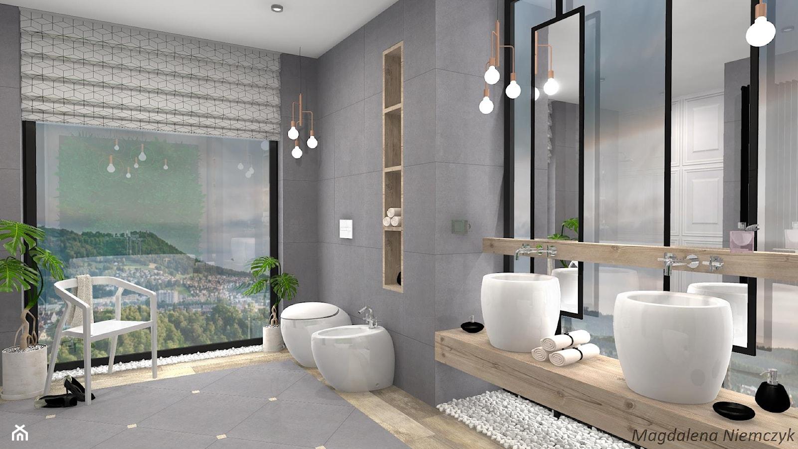 Łazienka w betonie i drewnie - Średnia łazienka w bloku w domu jednorodzinnym jako salon kąpielowy z oknem - zdjęcie od MEGART Projekty Wnętrz - Homebook