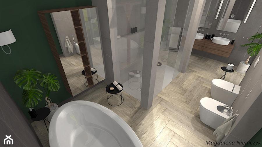 Prostota betonu i drewna - Średnia zielona łazienka w bloku w domu jednorodzinnym bez okna - zdjęcie od MEGART Projekty Wnętrz