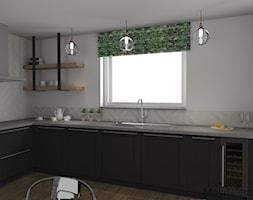 KUCHNIA grafit z drewnem - Średnia otwarta szara kuchnia w kształcie litery l z oknem, styl klasyczny - zdjęcie od MEGART Projekty Wnętrz