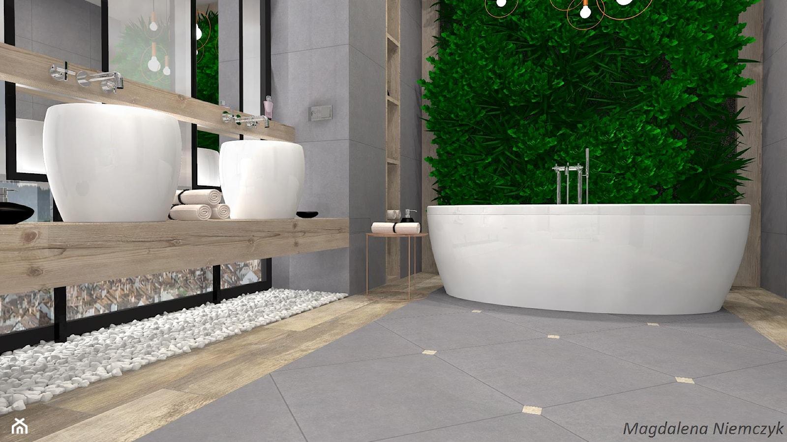Łazienka w betonie i drewnie - Średnia łazienka w bloku w domu jednorodzinnym bez okna - zdjęcie od MEGART Projekty Wnętrz - Homebook