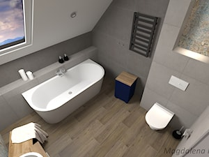ŁAZIENKA (beton patchwork) - Średnia biała łazienka na poddaszu w bloku w domu jednorodzinnym z oknem, styl eklektyczny - zdjęcie od MEGART Projekty Wnętrz