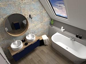 ŁAZIENKA (beton patchwork) - Średnia łazienka na poddaszu w domu jednorodzinnym z oknem, styl eklektyczny - zdjęcie od MEGART Projekty Wnętrz