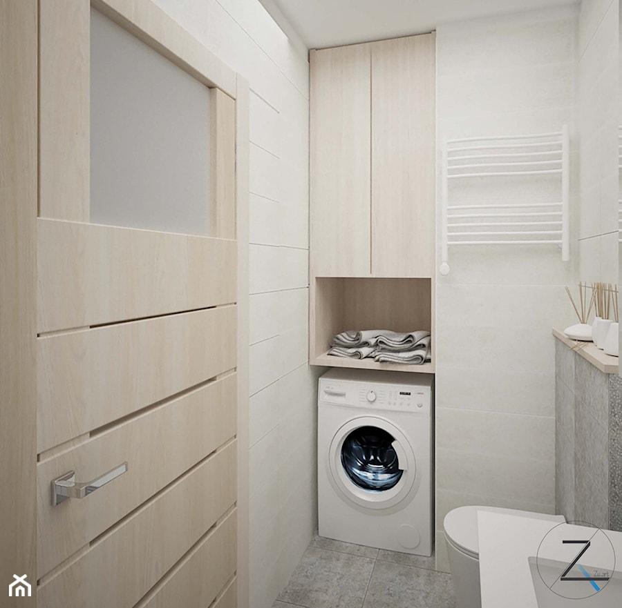 Gdańsk Morenova - Mała szara łazienka w bloku w domu jednorodzinnym bez okna - zdjęcie od Zu.art Zuzanna Komenda