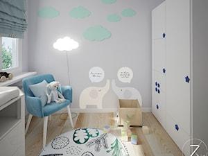 Warszawa Morelowa - Mały szary pokój dziecka dla chłopca dla dziewczynki dla niemowlaka dla malucha - zdjęcie od Zu.art Zuzanna Komenda