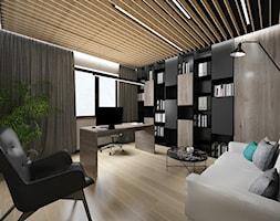 Projekt biura w domu - Średnie beżowe czarne biuro domowe w pokoju, styl nowoczesny - zdjęcie od Studio Archi S