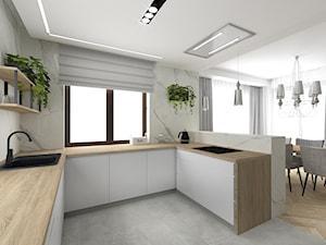 Projekt kuchni w willi pod Krakowem - Średnia otwarta biała kuchnia w kształcie litery g z oknem - zdjęcie od Studio Archi S