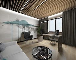 Projekt biura w domu - Średnie szare białe biuro domowe w pokoju, styl nowoczesny - zdjęcie od Studio Archi S