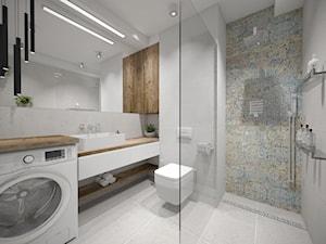 Nowoczesna łazienka - Mała szara łazienka w bloku w domu jednorodzinnym bez okna, styl nowoczesny - zdjęcie od Studio Archi S