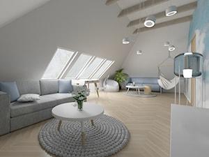 Projekt pokoju gościnnego - Duży szary niebieski salon - zdjęcie od Studio Archi S
