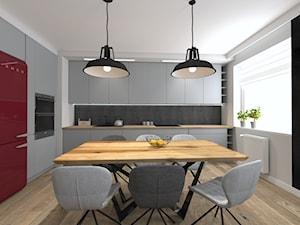 Mieszkanie w industrialnym stylu - Duża otwarta beżowa czarna kuchnia w kształcie litery l z oknem - zdjęcie od Studio Archi S