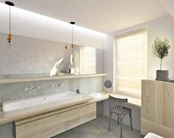 Mieszkanie na poddaszu - projekt - Średnia szara łazienka na poddaszu w domu jednorodzinnym z oknem, styl skandynawski - zdjęcie od Barbara Pawelczyk