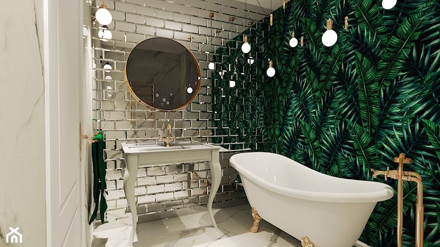 Łazienka z tapetą i kafelkami lustrzanymi - zdjęcie od rafal-jakubik 2