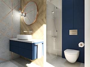 Dom Banino - Duża niebieska szara łazienka w bloku w domu jednorodzinnym bez okna, styl nowoczesny - zdjęcie od Inka Studio