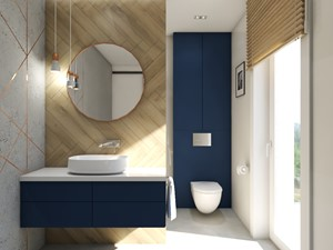 Dom Banino - Średnia biała niebieska szara łazienka w bloku w domu jednorodzinnym z oknem, styl nowoczesny - zdjęcie od Inka Studio