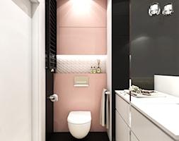 Mieszkanie Morena - Średnia biała czarna różowa łazienka bez okna, styl nowoczesny - zdjęcie od Inka Studio