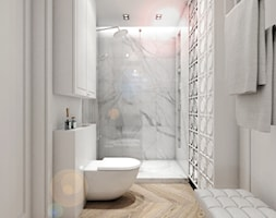 Nowoczesne mieszkanie w starym bloku- to możliwe - Średnia biała łazienka jako salon kąpielowy bez okna, styl nowojorski - zdjęcie od Inka Studio - Homebook
