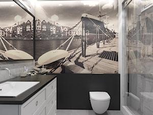 Mieszkanie Chmielna Park Gdańsk - Mała czarna szara łazienka w bloku w domu jednorodzinnym bez okna, styl rustykalny - zdjęcie od Inka Studio