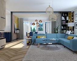 Dom Banino - Duży biały beżowy salon z bibiloteczką z jadalnią, styl nowoczesny - zdjęcie od Inka Studio - Homebook