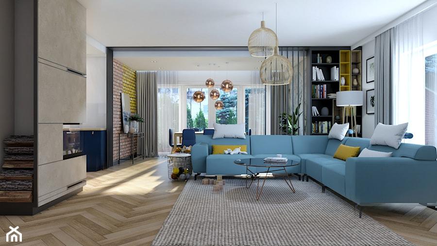 Dom Banino - Duży biały beżowy salon z bibiloteczką z jadalnią, styl nowoczesny - zdjęcie od Inka Studio