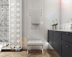 Nowoczesne mieszkanie w starym bloku- to możliwe - Mała szara łazienka w bloku w domu jednorodzinnym bez okna, styl nowojorski - zdjęcie od Inka Studio - Homebook