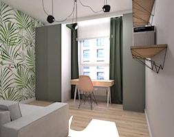 Królowa Cegła - Średnie szare biuro domowe kącik do pracy w pokoju, styl skandynawski - zdjęcie od Inka Studio