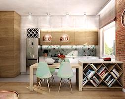 Mieszkanie Gdynia Apartamenty na Polanie - Mały brązowy salon z kuchnią z jadalnią, styl skandynawski - zdjęcie od Inka Studio