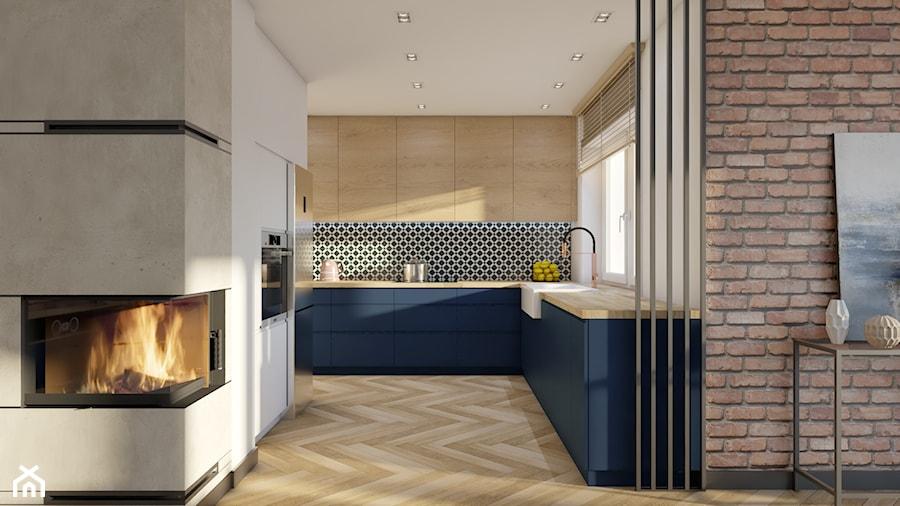 Dom Banino - Średnia otwarta biała niebieska kuchnia w kształcie litery u w aneksie z oknem, styl nowoczesny - zdjęcie od Inka Studio