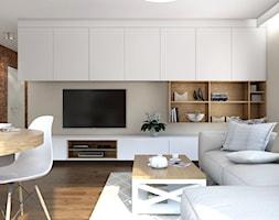 Mieszkanie Chmielna Park Gdańsk - Mały biały brązowy salon z jadalnią, styl rustykalny - zdjęcie od Inka Studio