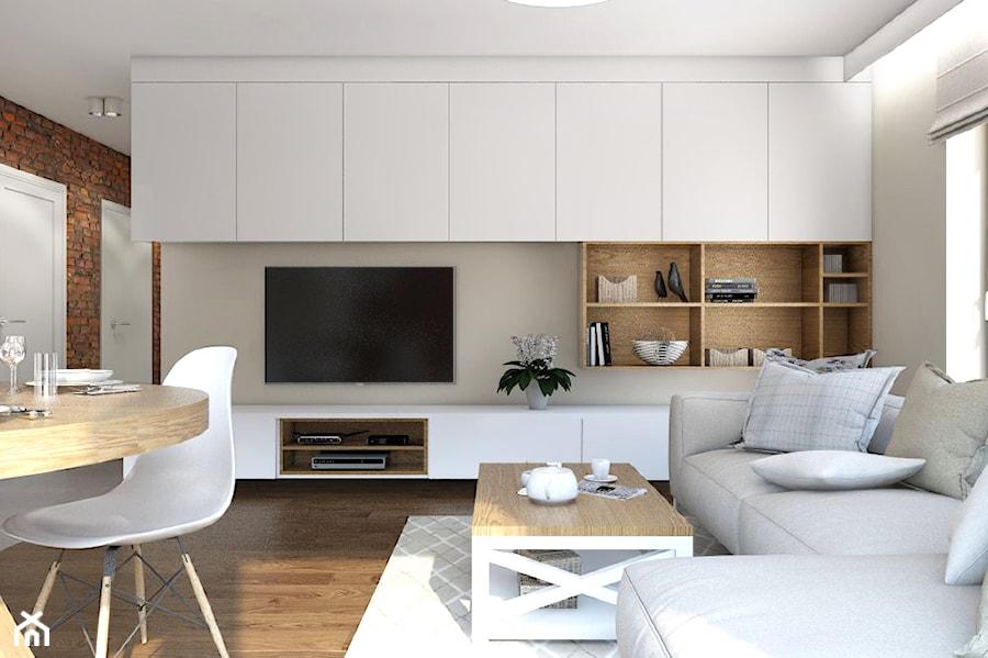 mieszkanie chmielna park gda sk ma y bia y br zowy salon z jadalni styl rustykalny zdj cie. Black Bedroom Furniture Sets. Home Design Ideas