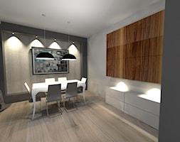parter w domu - Międzyborów - Średnia otwarta szara jadalnia w salonie, styl nowoczesny - zdjęcie od architekt wnętrz Monika Kilińska