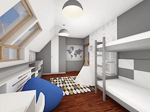 pokój dla chłopca - Duży biały szary pokój dziecka dla chłopca dla dziewczynki dla rodzeństwa dla ucznia dla nastolatka - zdjęcie od architekt wnętrz Monika Kilińska