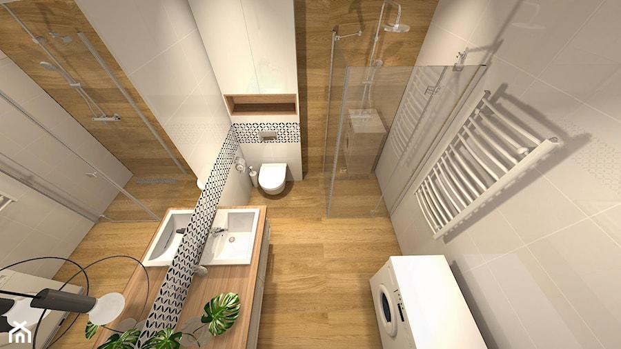 Biała łazienka Z Drewnem Zdjęcie Od Projektowanie Wnętrz